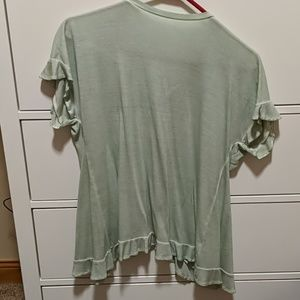 Key lime Ruffle top with open back